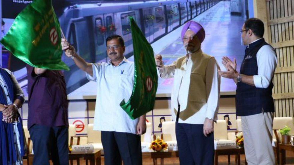 Union Minister Hardeep S Puri and Delhi CM Arvind Kejriwal flagged off Dwarka - Najafgarh corridor
