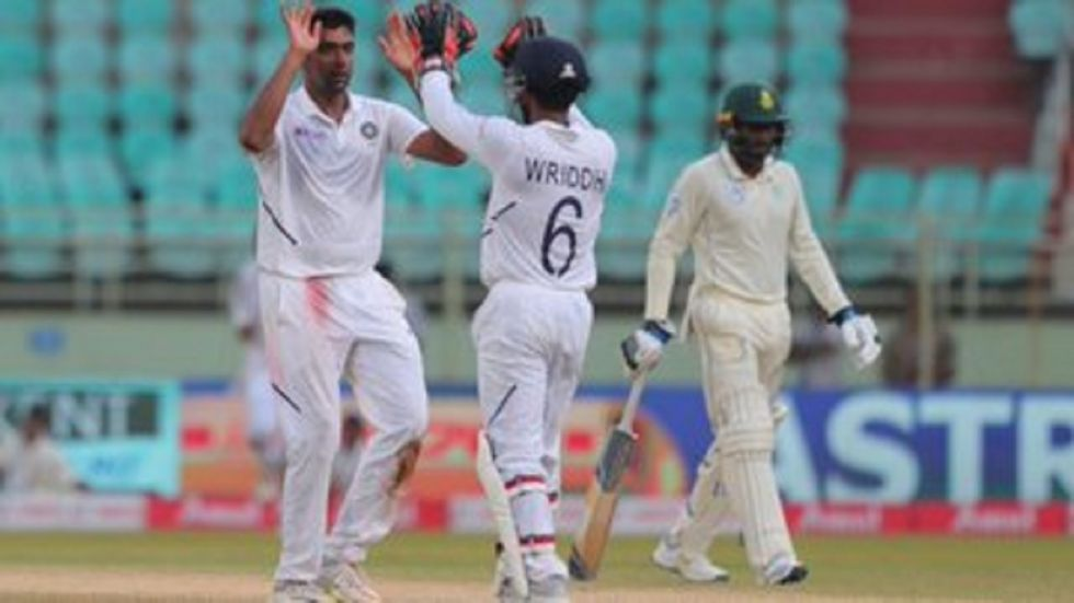 Ravichandran Ashwin picked up his 350th wicket during the Vizag Test and he equalled the record of Muttiah Muralitharan.