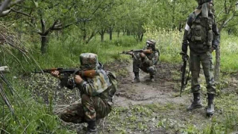The gun battle broke out between terrorists and security forces on the outskirts of Awantipora