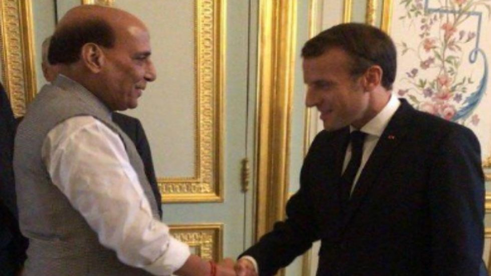 Rajnath Singh will meet French President Emmanuel Macron in Paris today.