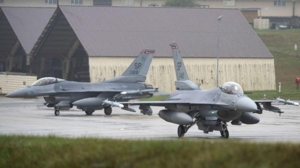 U.S. Air Force F-16 Fighting Falcons at Spangdahlem Air Base, Germany