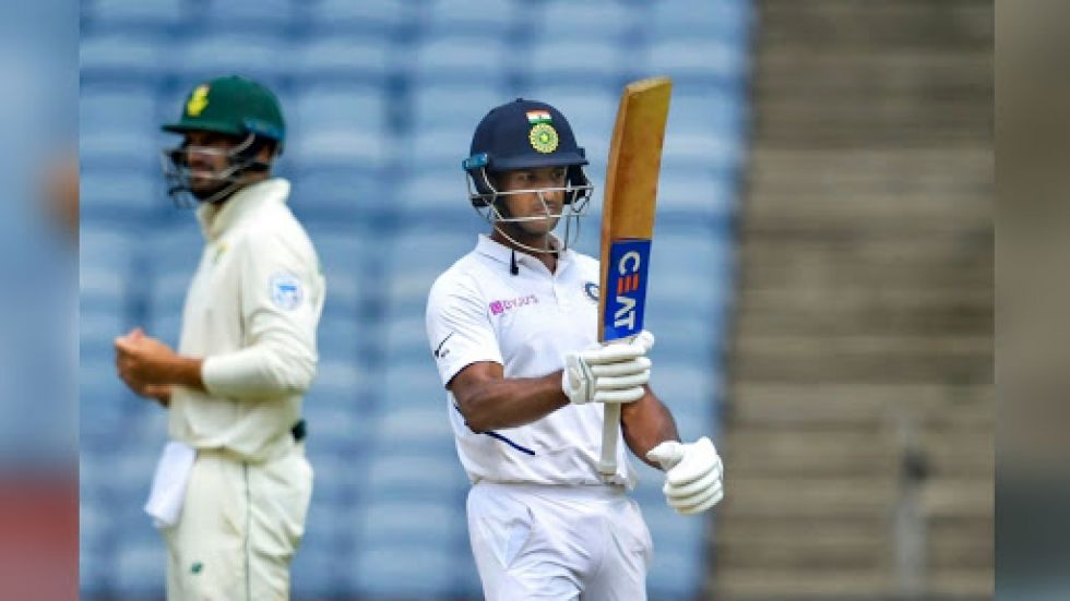 Mayank Agarwal notched up his second century in the series against South Africa during the Pune Test.