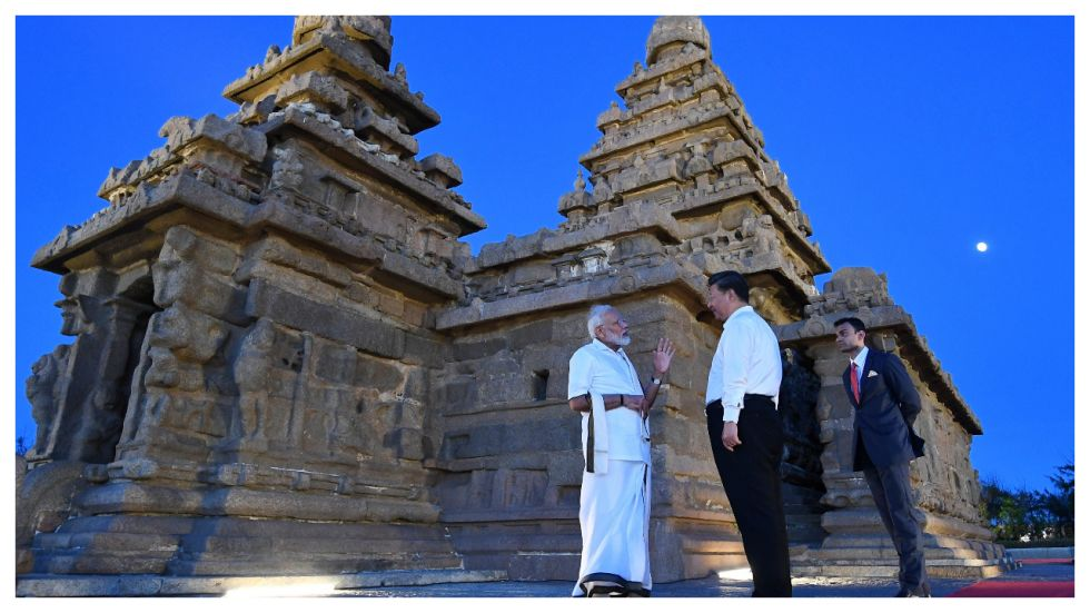 PM Narendra and Chinese President Xi Jinping visit Shore Temple monuments in Mamallapuram