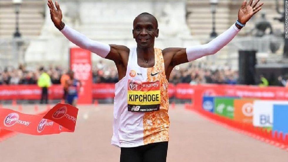 Kipchoge holds the men's world record for the distance with a time of 2hr 01min 39sec, which he set in the flat Berlin marathon on September 16, 2018.