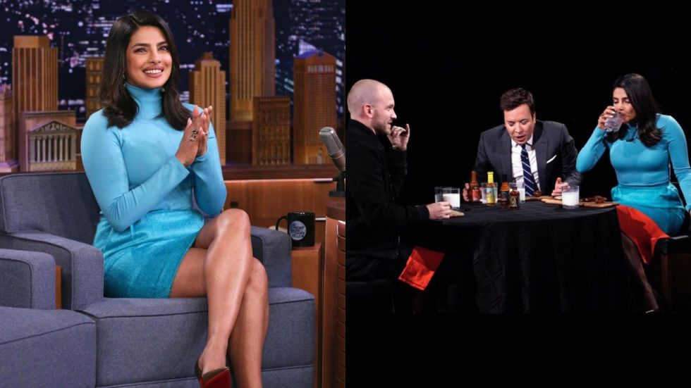 Priyanka Chopra Tries Hot And Spicy Chicken Wings On Jimmy Fallon's Show