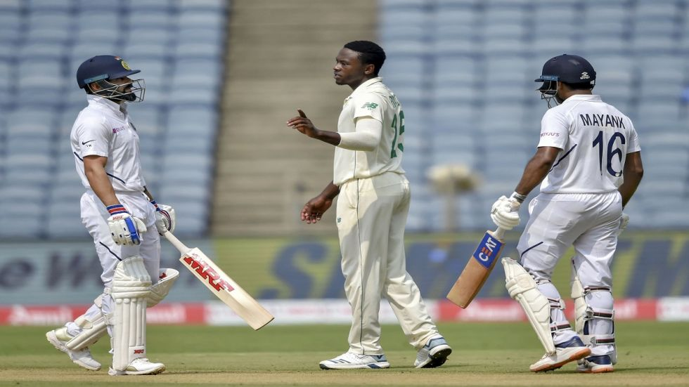 Kagiso Rabada and Quinton de Kock were involved in a heated on-field clash during the second session of the Pune Test on day 2.