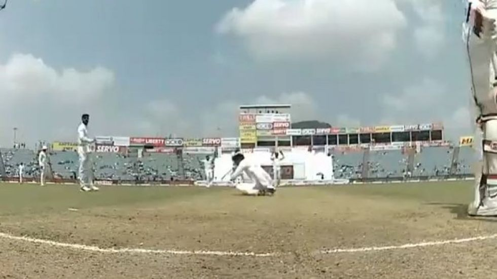 Ravindra Jadeja has been warned for treading onto the danger area after tumbling during an appeal in the Pune Test.