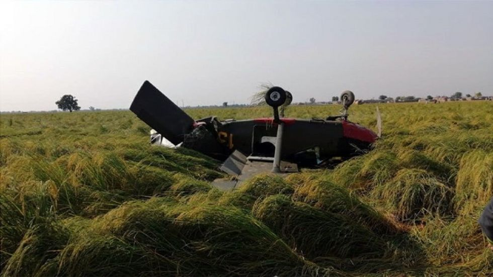 Pakistan Army's aircraft crashes in paddy field in Punjab province