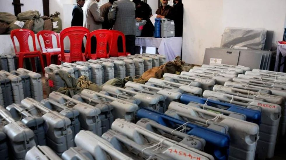 EVMs and VVPAT paper trail machines used in Monday's polling are kept at strongrooms.