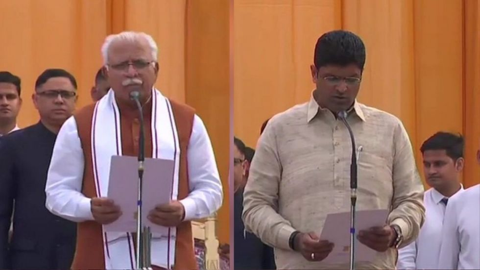 Manohar Lal Khattar and Dushyant Chautala at the swearing-in ceremony on Sunday.
