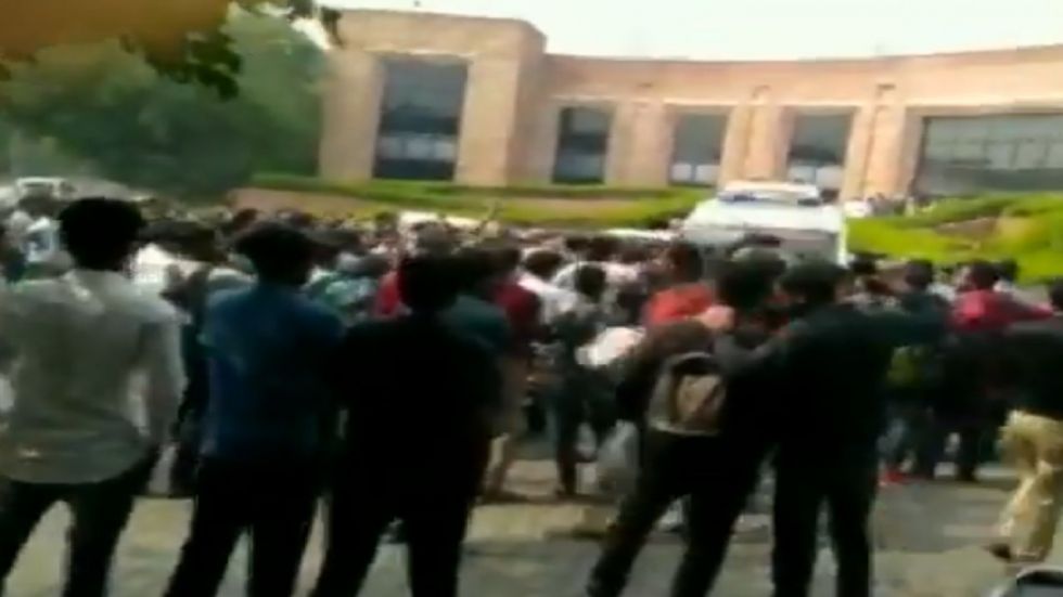 Students allegedly block ambulance for ailing dean of students professor Umesh Kadam during a protest.
