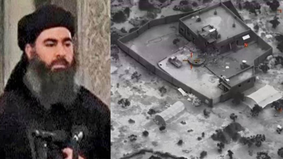 An image showing the compound where Abu Bakr Al-Baghdadi was hiding