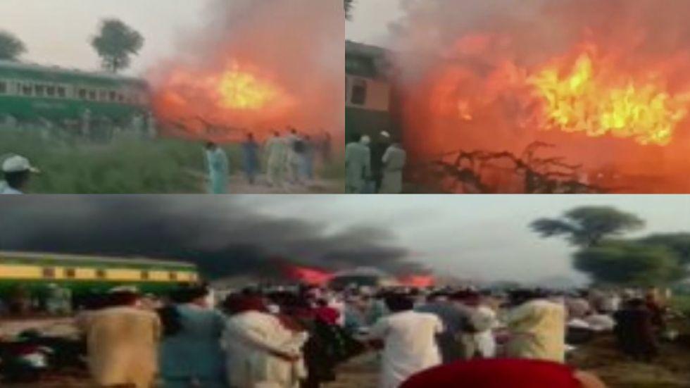 Massive blaze seen after a gas canister exploded in Karachi-Rawalpindi Tezgam express train in Liaqatpur near Rahim Yar Khan.