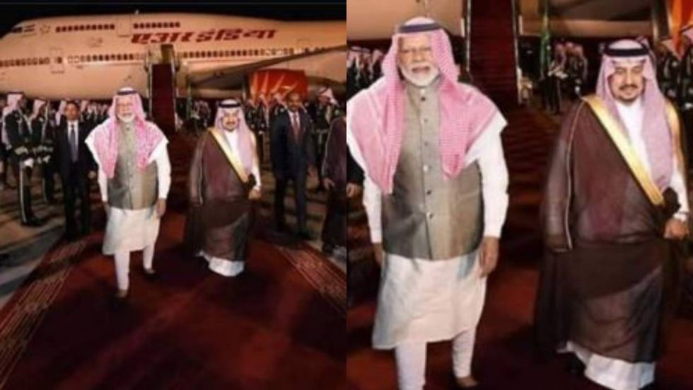 The image claims that PM Modi wore the keffiyeh upon his arrival in Riyadh
