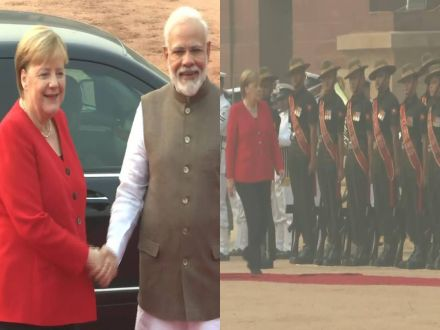 Image result for German Chancellor Angela Merkel arrives in Delhi, visits Rashtrapati Bhawan