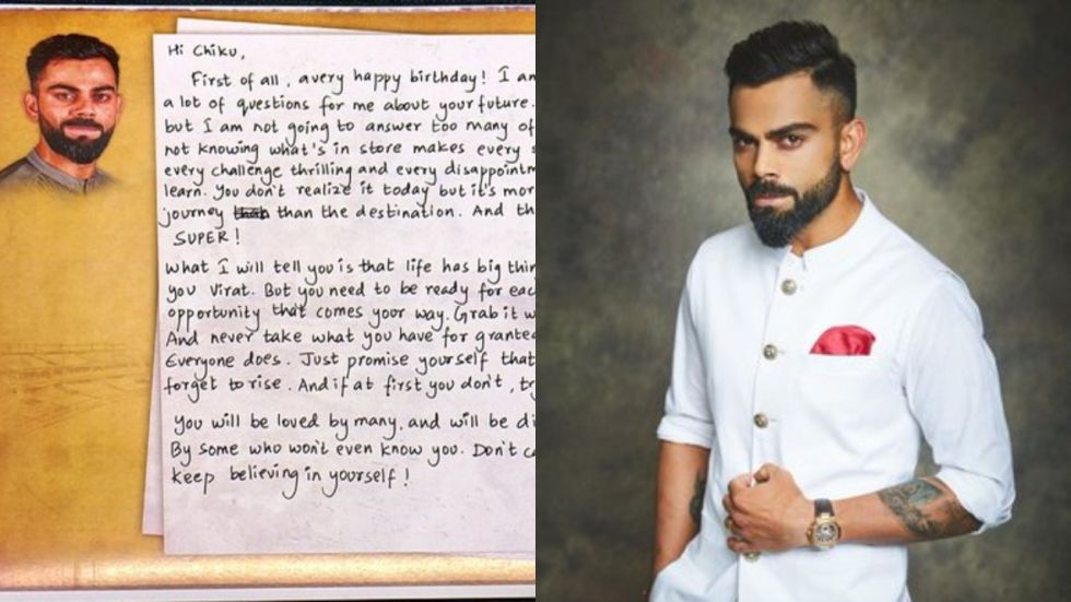Virat Kohli told his 15-year-old self to shower his late dad with lots of love, giving his warm hugs precedence over his refusal to buy the dreamy-eyed son a pair of shoes.