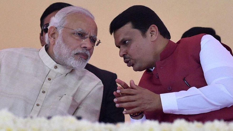 Prime Minister Narendra Modi wilth Devendra Fadnavis