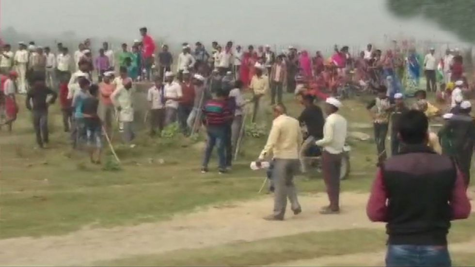 Farmers were holding protest alleging that they were not given proper compensation.