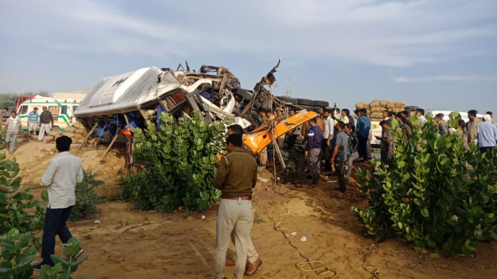 14 killed, several injured in head-on collision between bus and truck in Rajasthan's Bikaner