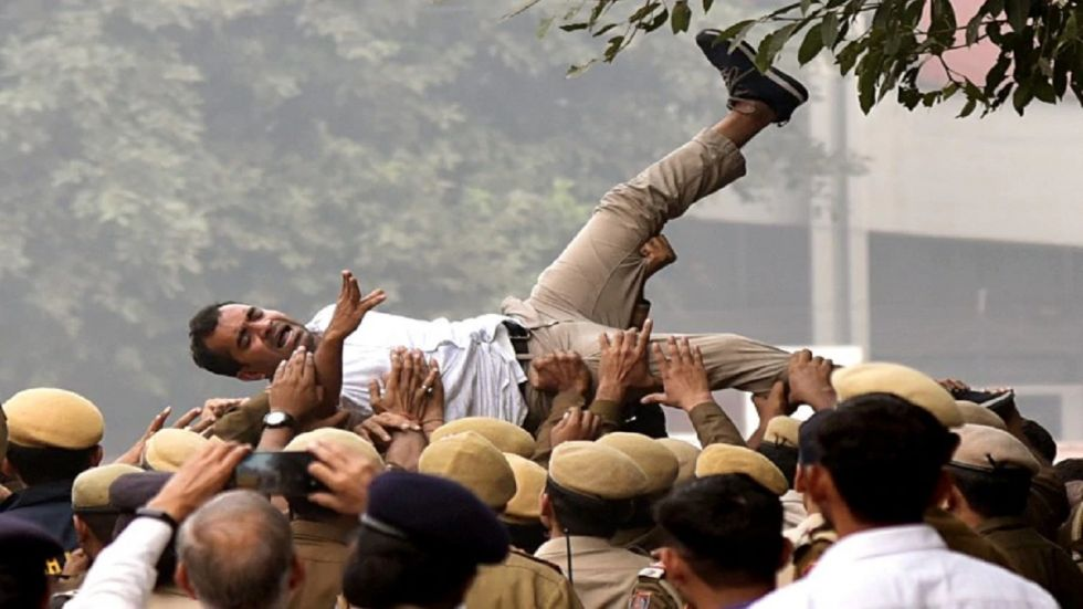 The protesters released photos, alleging that physically-challenged students were among those injured in the lathi-charge.