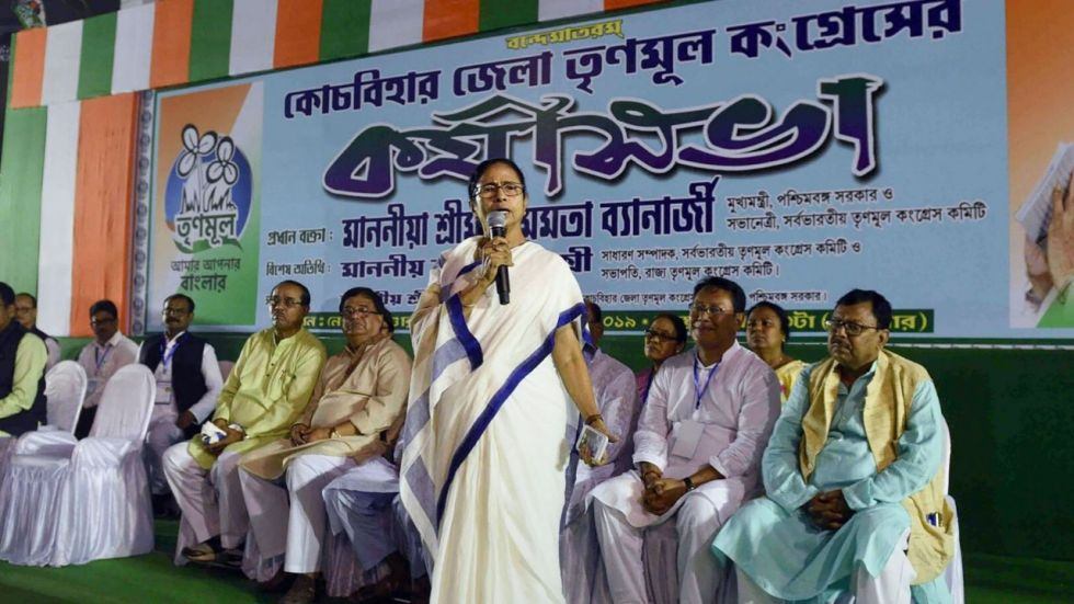 West Bengal Chief Minister and Trinamool Congress president Mamata Banerjee addresses during party workers meeting in Cooch Behar.