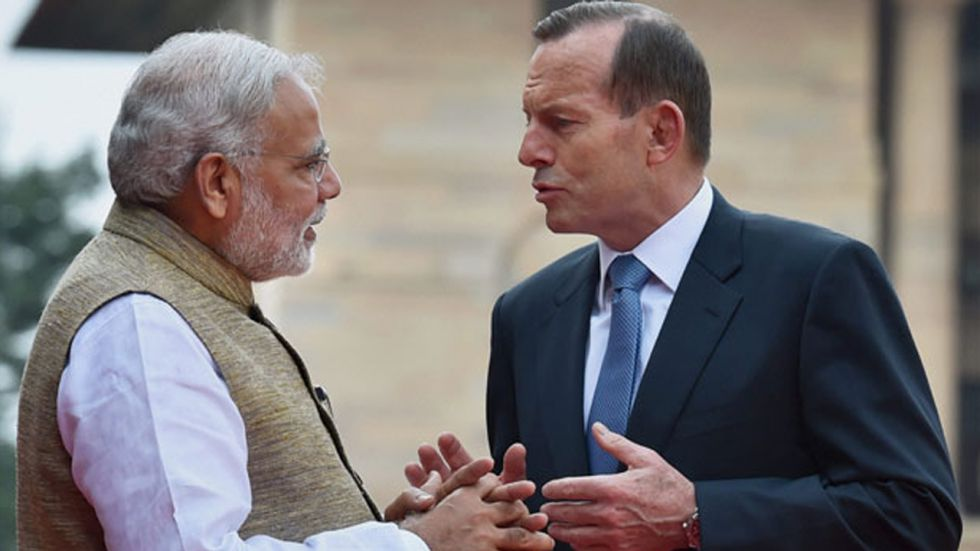 Former Australian Prime Minister Tony Abbott and PM Modi