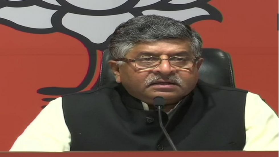 Union Law Minister Ravi Shankar Prasad holds a press conference on Saturday.