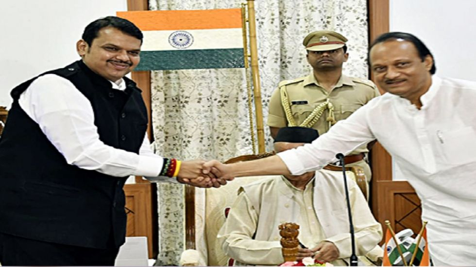 Devendra Fadnavis and Ajit Pawar were sworn in as chief minister and deputy chief minister on Saturday morning.