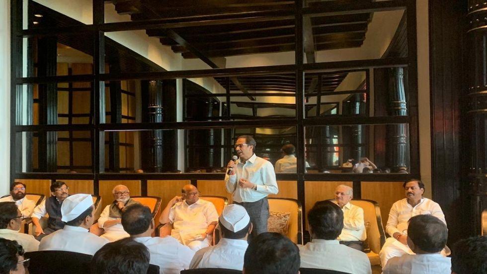Shiv Sena chief Uddhav Thackeray and NCP president Sharad Pawar at Renaissance hotel.
