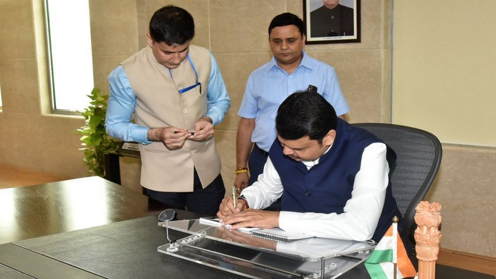 Fadnavis did his first signature on a CM Relief Fund cheque after taking over as the chief minister of the state.