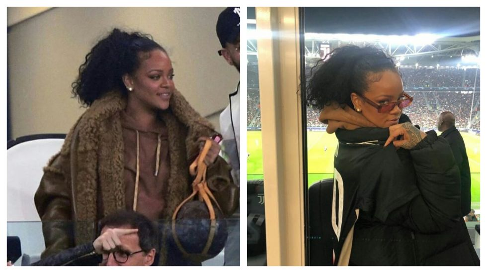Rihanna Attends Juventus and Atletico Madrid Match In Style