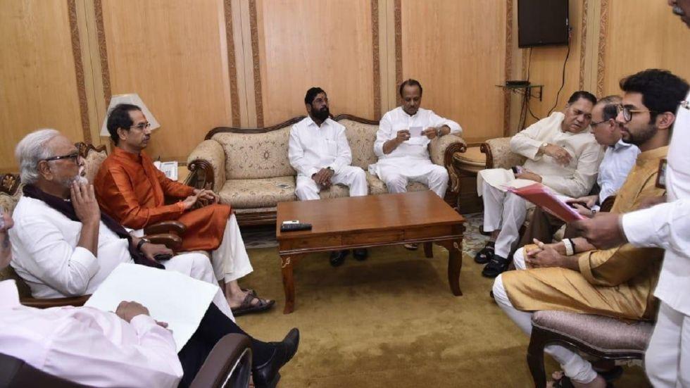 NCP chief Sharad Pawar's nephew Ajit and Uddhav Thackeray's son Aditya were also present during the meeting.