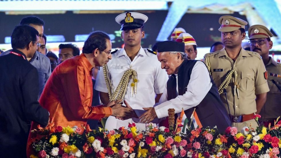 Uddhav Thackeray with Governor Bhagat Singh Koshyari during the oath-taking ceremony.