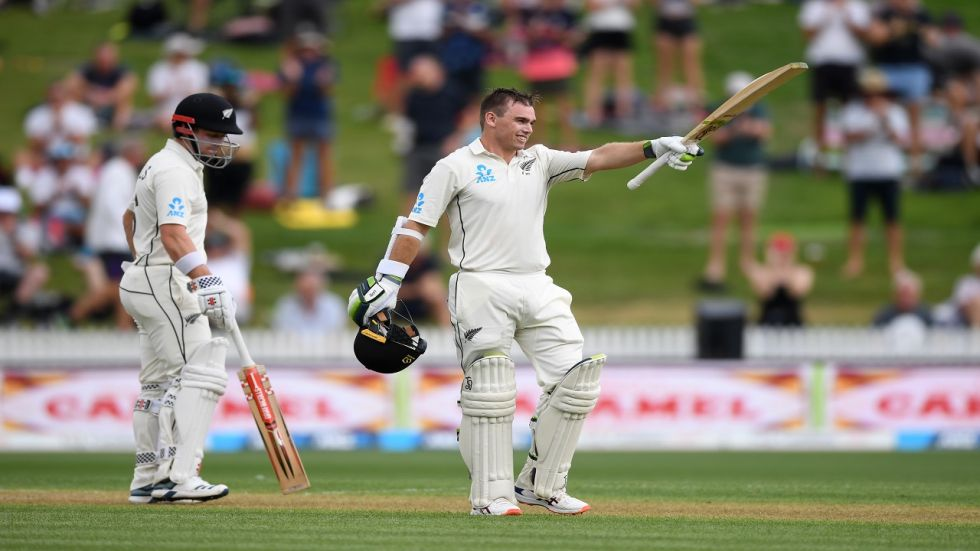 Tom Latham smashed a superb century and New Zealand reached a strong position on a rain-affected day 1 in Hamilton.