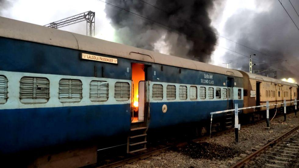 Protestors targeted railway properties in Murshidabad