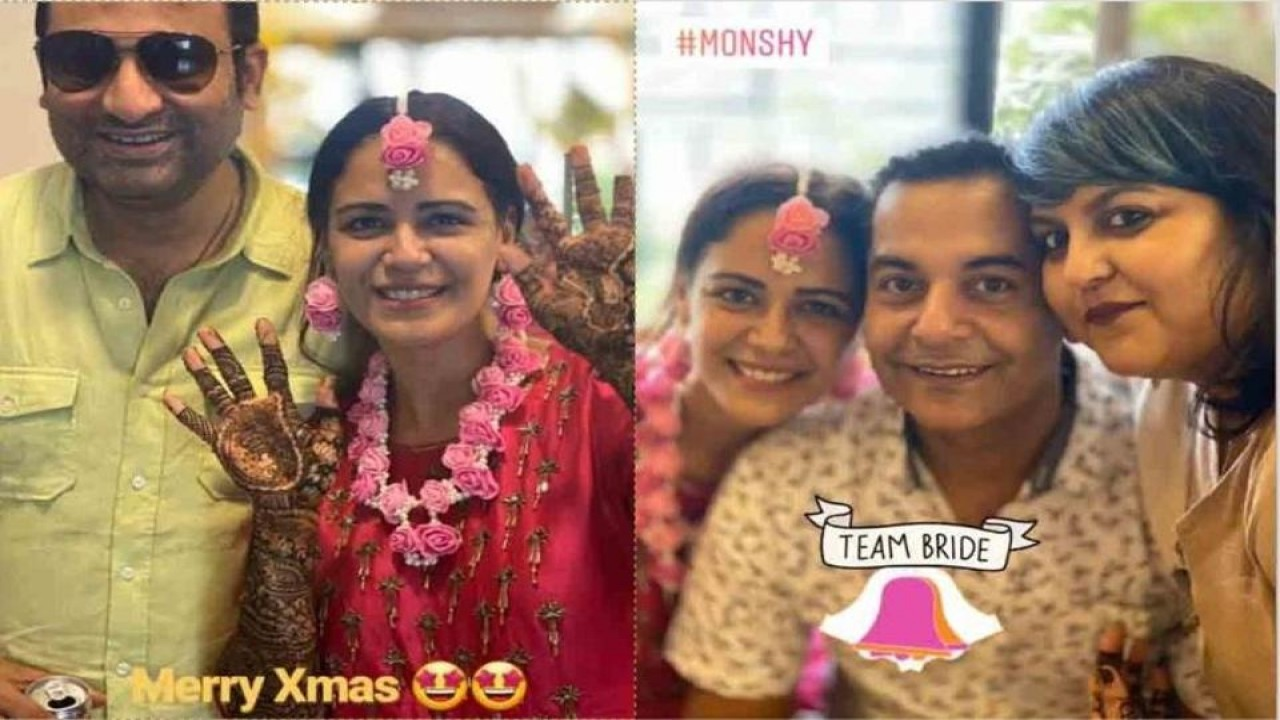 Mona Singh Looks Resplendent In Pink Outfit And Floral Jewellery At Her Mehendi Ceremony