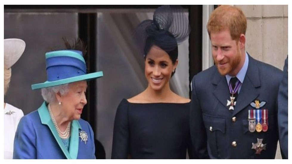 Queen Elizabeth with Harry and Meghan