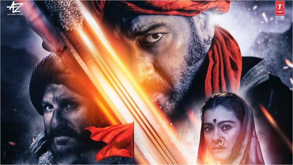 Ajay Devgn, Kajol and Saif in Tanhaji's poster.