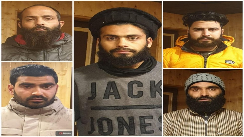 Imtiyaz , Omar, Sahil, Ajaz along with kingpin Naseer (Centre) are the five JeM operatives who were caught by the Jammu and Kashmir Police.