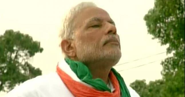 Prime Minister Narendra Modi performs Yoga at Rajpath