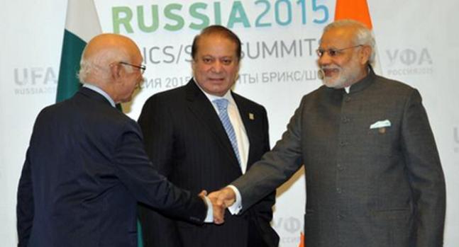 Modi meets Sharif in Russia