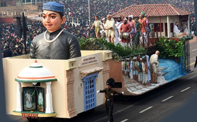 Mahatma Gandhi theme tableaus at Republic Day parade Rajpath New Delhi India January 26