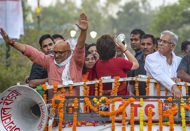 In Pictures: On Modi's turf Varanasi, Priyanka Gandhi's mega 'show of strength' gathers crowd