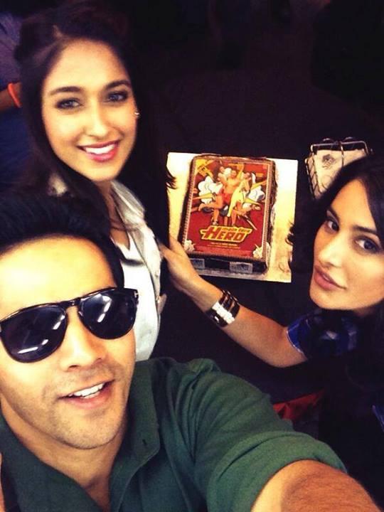 Varun with Nargis and Ileana promote Main Tera Hero