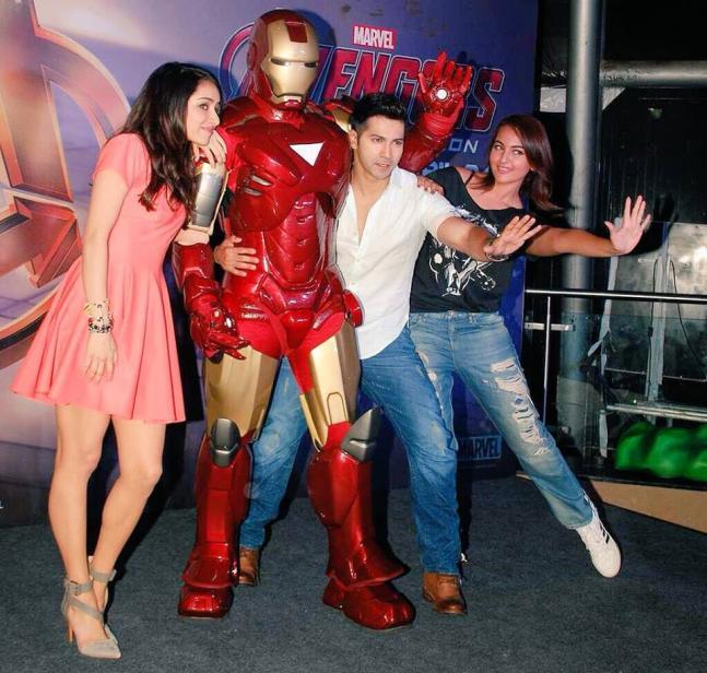 Sonakshi Sinha, Varun Dhawan, Shraddha Kapoor at Avengers' screening