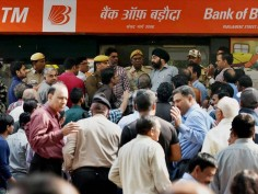 Heavy rush at ATMs, long queues, exhausted public, machines drying easily