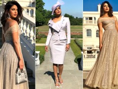 Priyanka Chopra looks at Prince Harry Meghan Markle royal wedding pictures
