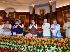 In Pictures: After resounding victory, NDA leaders meet to re-elect Prime Minister Narendra Modi president Ram Nath Kovind