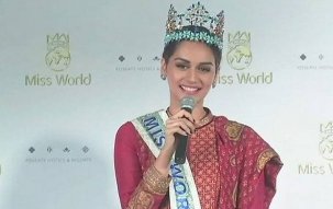 Miss World Manushi Chhillar returns home