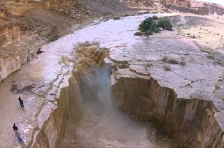Parched river Zin of Israel comes to life